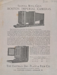 Advert For Boston Imperial Cameras From The Eastman Dry Plate And Film Company